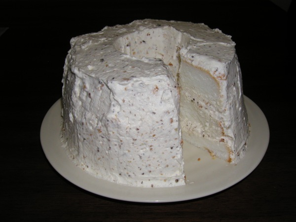 Angel Food Cake With Heath Bar Whipped Cream Icing Recipe — Dishmaps